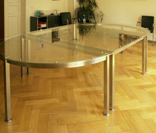 glastisch mit edelstahlgestell. Black Bedroom Furniture Sets. Home Design Ideas